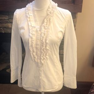 Ann Taylor Petite off-white long sleeved blouse 4P